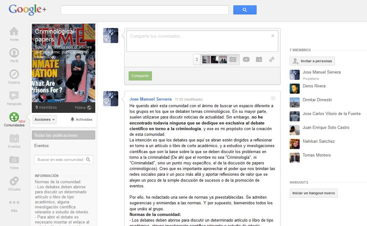 Criminological papers, nueva comunidad en Google +